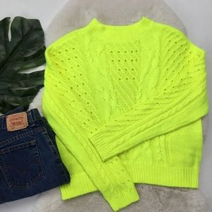 Nordstrom bp Neon Yellow Cable Sweater L